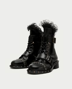 b4aaf7209ada8 FLAT LEATHER ANKLE BOOTS WITH STUDS - SHOES-SALE-WOMAN
