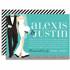 B+W Wedding Couple - Blue Invitations  by Doc Milo