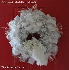 DIY Mesh Wedding Wreath Tutorial