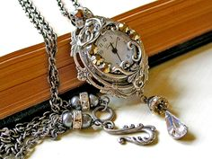 Victorian Silver Necklace Watch Pendant - Vintage Style Victorian Watch Necklace - Victorian Bridal Jewelry