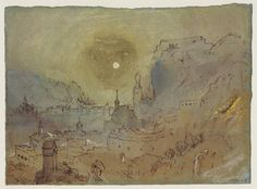 Joseph Mallord William Turner 'Dinant from the South-East: Evening', c.1839. Gouache and watercolor on paper.