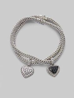 John Hardy  White Sapphire & Sterling Silver Small Heart Charm Bracelet