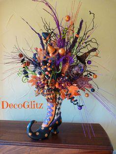 WITCH'S BOOT Halloween CENTERPIECE by decoglitz on Etsy