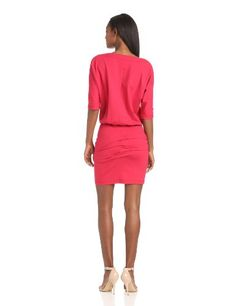 Nicole Miller Women's 3/4 Sleeve Bloussant Ponte Dress, Brushed Rose, Petite - Buy New: $275.00