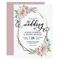 Wedding Themes Pastel watercolor floral geometric frame wedding invitation - This is a beautiful wedding invitation featuring pastel floral watercolor and gold geometric frame design. Country Wedding Invitations, Wedding Shower Invitations, Beautiful Wedding Invitations, Watercolor Wedding Invitations, Wedding Invitation Wording, Wedding Stationary, Invitation Paper, Invitation Templates, Event Invitations