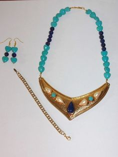 Handmade Turquoise & Lapis Bib Necklace Set     by SCLadyDiJewelry