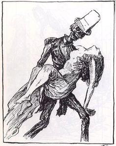 Death and the Maiden ALFRED KUBIN. Memento Mori, Alfred Kubin, Skeleton Drawings, Metal On Metal, Dance Of Death, Beautiful Dark Art, Father Time, Cool Monsters, Danse Macabre