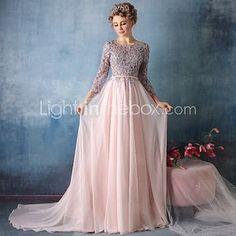 Formal Evening Dress - Pearl Pink Trumpet/Mermaid V-neck Chapel Train Lace / Satin Chiffon - USD $179.99
