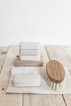 Bar soap and a natural bristle compostable brush for a zero waste, plastic-free bathroom and cleaning routine