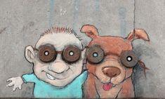 """Ernie """"Goggles"""" Granger and his dog, Specs. David Zinn, 3d Street Art, Street Art Graffiti, Graffiti Artists, Abstract Sculpture, Wood Sculpture, Metal Sculptures, Ann Arbor, New York Graffiti"""