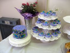 Peacock Themed Bridal Shower Cake and Cupcakes