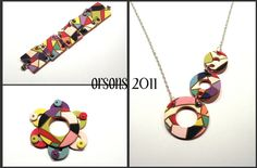 Orson's Colori bracelet, necklace and pendant/broach base by Orson's World, via Flickr - love the mosaic style here.
