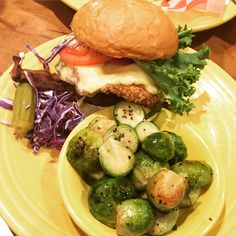 Fried chicken BLT with Brussels sprouts.
