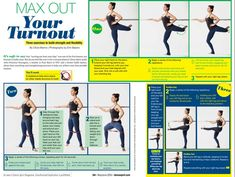 Christina Pazcoguin, a teacher at Pure Barre in NYC and a former ballet dancers, walks us through three stretching and strengthening exercises to help you achieve your best possible turnout. (Click the image to zoom! Dance Flexibility Stretches, Dancer Stretches, Flexibility Workout, Stretching, Flexibility Challenge, Ballet Diet, Ballet Barre, Ballet Dancers, Dancers Feet