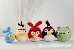 Angry Birds collection Crochet 5 Angry by VickyCraftsy