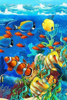 flag of Ocean Simply breathtaking - sea life Sea Life Art, Sea Art, Colorful Fish, Tropical Fish, Dolphin Art, Beautiful Sea Creatures, Underwater Painting, Ocean Wallpaper, Ocean Creatures