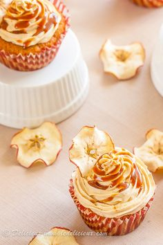 Salted Caramel Apple Cupcakes - deliciously decadent recipe of apple cupcakes topped with salted caramel buttercream and more salted caramel.