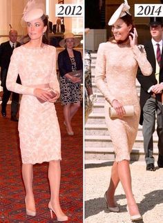 Kate elected to repeat the beautiful lace Alexander McQueen dress she first wore for The Queen's Jubilee Service in 2012. The knee length sheath showcased lace atop a white base and it features long sleeves, a boat neck and satin ribbon at the waist (today Kate wore it without the ribbon). It's a bespoke piece, not bearing any major similarities to anything the brand has produced in recent years. One expects it was a garment created in collaboration between Kate and Sarah Burton.