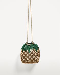 Image 2 of PINEAPPLE BUCKET BAG WITH BEADS from Zara
