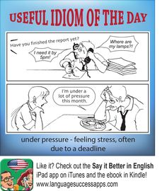 Useful idioms of the day - under pressure #ESL #ELL #IDIOMS