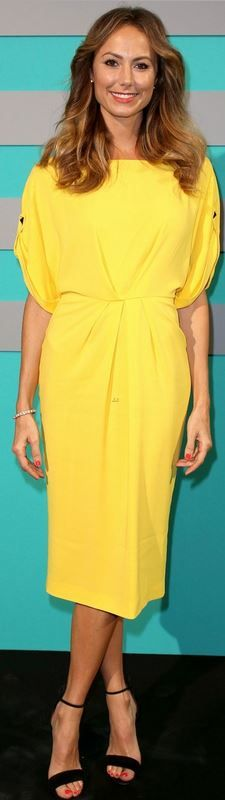 Yellow dress and black ankle sandals