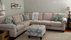 Little Bits of Home: Living Room Makeover: Haverty's Corey Sectional in color Pearl