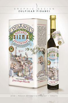 """""""İda dağının gölgesindeki antik uygarlıkların miras bıraktığı zeytin ağaçlarından"""" Pidasus markası zeytinyağı teneke ambalaj ve etiket tasarımı."""