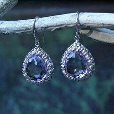 Amethyst Teardrop Earrings Sterling Silver halo earrings