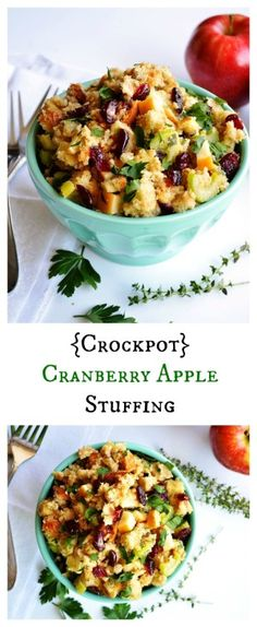 {Crockpot} Cranberry Apple Stuffing. Save room in your oven by making this flavorful side dish in the slow cooker.