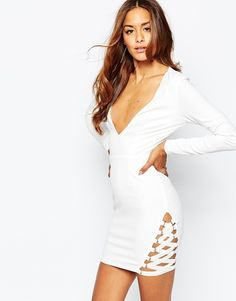Missguided Crepe Elastic Hem Detail Bodycon Dress