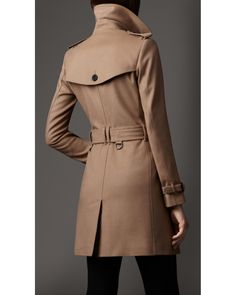 ff6db1b6588a Burberry - Natural Wool Cashmere Trench Coat - Lyst