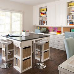 Transform an empty bedroom into a craft room, with multiple workstations for friends or kids. I need this!