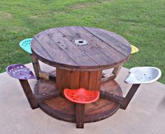 DIY spool w/tractor seats now a table