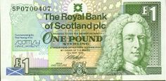 """All the Royal Bank notes incorporate a portrait of Lord Ilay, the first Governor of the bank together with the bank's logo and coat of arms. The semi-circle of """"stars"""" is a representation of the magnificent ceiling in the bank's head office in St Andrew Square, Edinburgh. The special elements denoting the commemorative theme include (in the bottom left hand corner) a St Andrew's flag set below a silhouette of the Church of Scotland Assembly Hall, the temporary home of the Parliament. The…"""