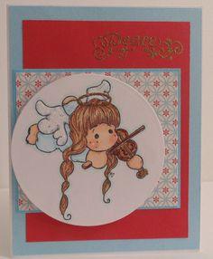 Tilda playing Violin, Magnolia stamp, glitter wings, embossed halo and sentiment, spellbinder dies