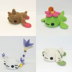 Laying Digimon by Heartstringcrochet on DeviantArt Crochet Pokemon, Kawaii Crochet, Cute Crochet, Crochet Crafts, Crochet Dolls, Yarn Crafts, Amigurumi Patterns, Amigurumi Doll, Knitting Patterns