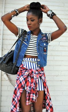 This is such an interesting play on patterns. Horizontal stripes + vertical stripes + plaid. <3