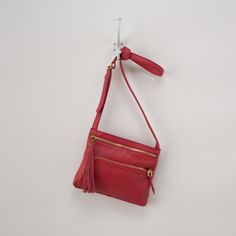 Red leather crossbody // all year long