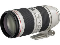 EF 70-200mm f/2.8L IS II USM - This is an improvement upon one of the most celebrated lenses in the Canon EF line.   It has a minimum focusing distance of 1.2m/3.9 ft. at all zoom settings. It features a next-generation Optical Image Stabilizer, providing up to 4 stops of correction at all focal lengths. And as with all L-series lenses, the EF 70-200mm f/2.8L IS II USM is dust- and moisture-resistant and designed for use in the challenging environments typical of rigorous professional use.