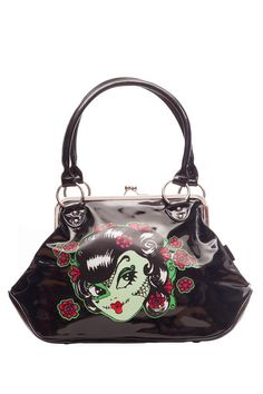 The perfect addition to any alternative outfit, the zombie girl shoulder bag! Available on line now -->  http://www.claireabellascloset.co.uk/component/hikashop/product/1180-voodoo-vixen-zombie-girl-handbag?Itemid=126