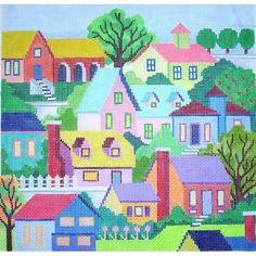MC2217  Small Houses  13M - 11x11  Marcy Covington for Julia's Needleworks (wholesaler)