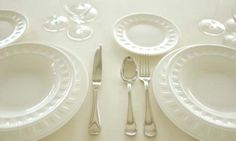 table setting etiquette- pinned this for the explanation of using the cream soup bowls (can pick them up and sip from them)