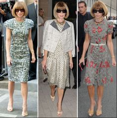 The Ice Queen broken down into three separate (yet still eternal) glaciers that give us a clear sense of her style and who she is. Anna Wintour's preference for prints and tighter clothing are used to accentuate her figure and are usually paired with statement necklaces. Belts and defined waists are also quite frequent - she's bold and up afraid of flaunting the fashion she's made popular while building her empire at Vogue.