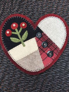 HAND-STITCHED Primitive Folk Art Wool Applique by PrimFolkArtShop