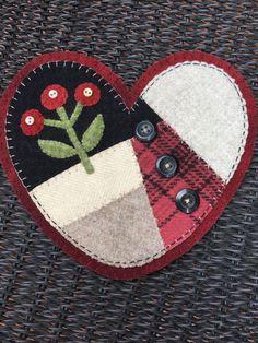 HAND-STITCHED Primitive Folk Art Wool Applique by PrimFolkArtShop