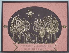 """Remember Him by Karen Decker, My swap for the Unite and Excite event in Colorado. I didn't get tired of seeing these gorgeous trees turn sparkly as I embossed them in gold on chocolate chip card stock. This is simple enough to be a Christmas stamp a stack card. The Filigree Frame EF ran right to the edge of a 5 1/4"""" x 4"""" top layer. Use a 5 3/8"""" x 4 1/8"""" to keep your customers from being frustrated. I used the oval framelit # 6, Crisp Cantaloupe, Chocolate Chip, Champagne Glimmer Paper."""