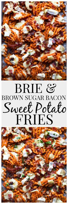 Brie & Brown Sugar Bacon Sweet Potato Fries - Cooking for Keeps Pulled Pork Burger, Brie, Brown Sugar Bacon, Food Dishes, Side Dishes, Potato Dishes, Potato Recipes, Fast Food, Pasta