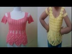 كروشيه طريقه عمل بلوزه مع غرزه الأناناس بأى مقاس جزء (1) Crochet Art Blouse with pineapple sutures - YouTube