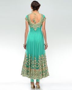 Turquoise Mint Gota Embroidered Kalidar Suit - Exclusively In