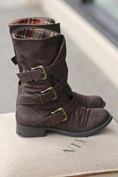Three Roads Three Buckle Mid-Calf Boot . This whole website has super cute, super cheap shoes.